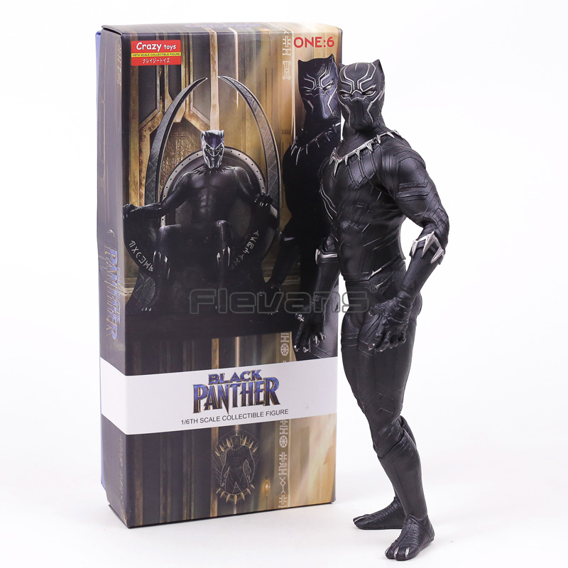цена на Crazy Toys Black Panther 1/6 Scale Statue PVC Figure Collectible Model Toy