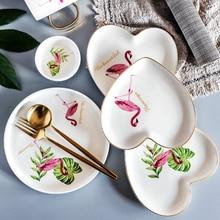 Кухня ресторан посуда Фламинго формы керамическое западное блюдо посуда для десерта, завтрака стейк тарелка свадебный подарок