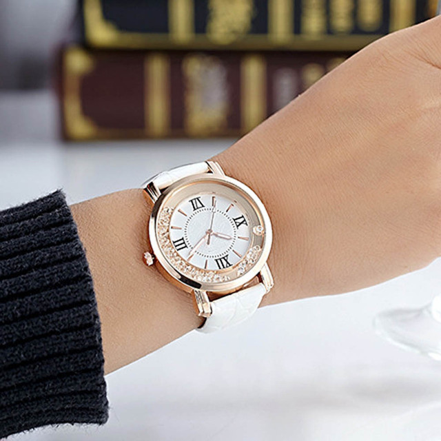 Fashion Casual Women Watches Leather WatchBand Luxury Rhinestone Diamond Ladies Dress Quartz Wristwatches Woman business Clock