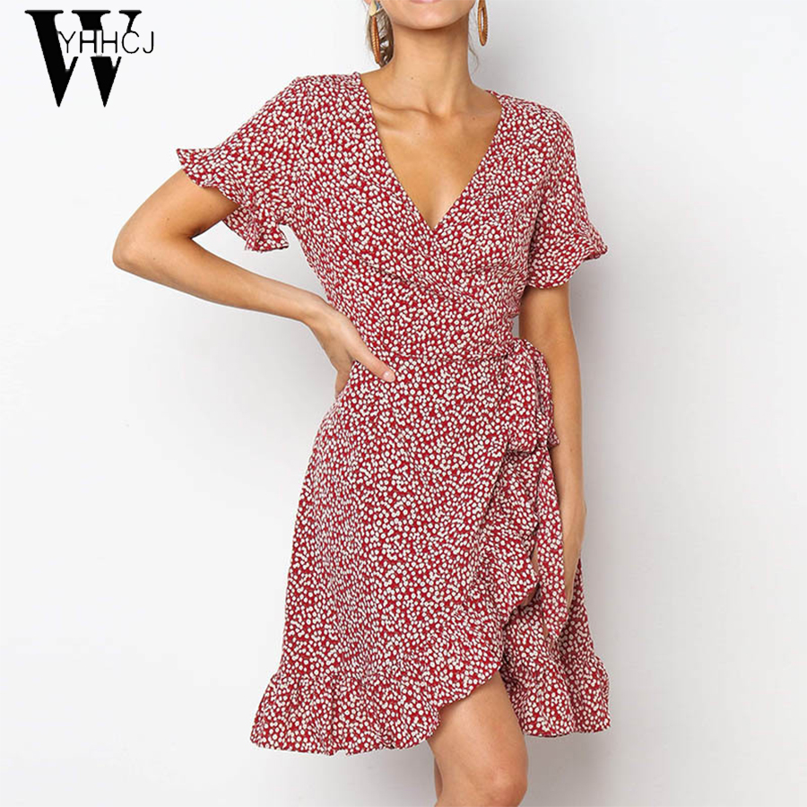 2019 <font><b>Sexy</b></font> Deep <font><b>V</b></font>-neck Summer <font><b>Dress</b></font> Women <font><b>Boho</b></font> <font><b>Floral</b></font> <font><b>Print</b></font> Mini Party <font><b>Dress</b></font> Elegant Ruffle <font><b>Short</b></font> Sleeve <font><b>Beach</b></font> <font><b>Dress</b></font> Robe Ete image