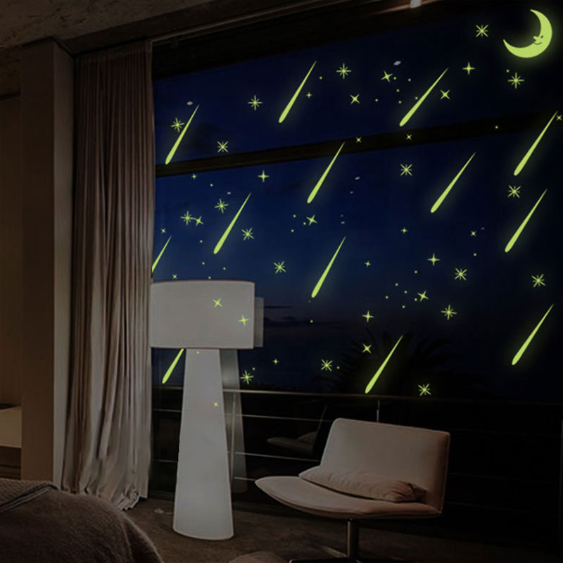 New Meteor Shower Wall Stickers Sky Star Moon Wall Decals Luminous Stickers Fluorescence Kids Room Bedroom Nursery E2S