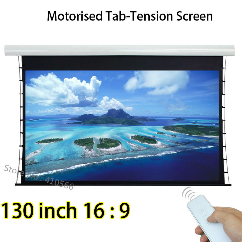 High Brightness 130inch 16:9 Widescreen Tab Tension Electric Projection Projector Screen Built in Remote Control luxury motorized electric tab tension 139inch 16 10 matte white home theater high quality cinema projector screen