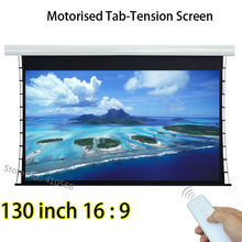 High Brightness 130inch 16:9 Widescreen Tab Tension Electric Projection Projector Screen Built in Remote Control