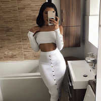 ADYCE 2019 New Summer Bodycon Celebrity Party Women Bandage Sets Two 2 Pieces Top&Skirts Long Sleeve Strapless Club Sets Vestido