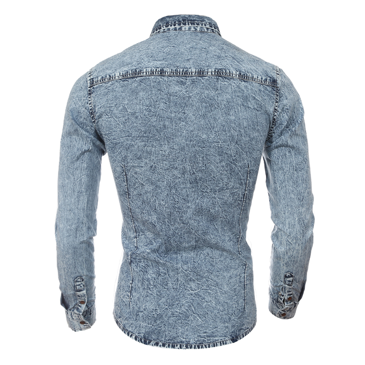 95803db574 New Design Men Denim Shirt Two Pockets Washed Long Sleeve Casual Slim Fit  Jeans Shirt Male British Blue Social Mens Dress Shirts-in Casual Shirts  from Men s ...