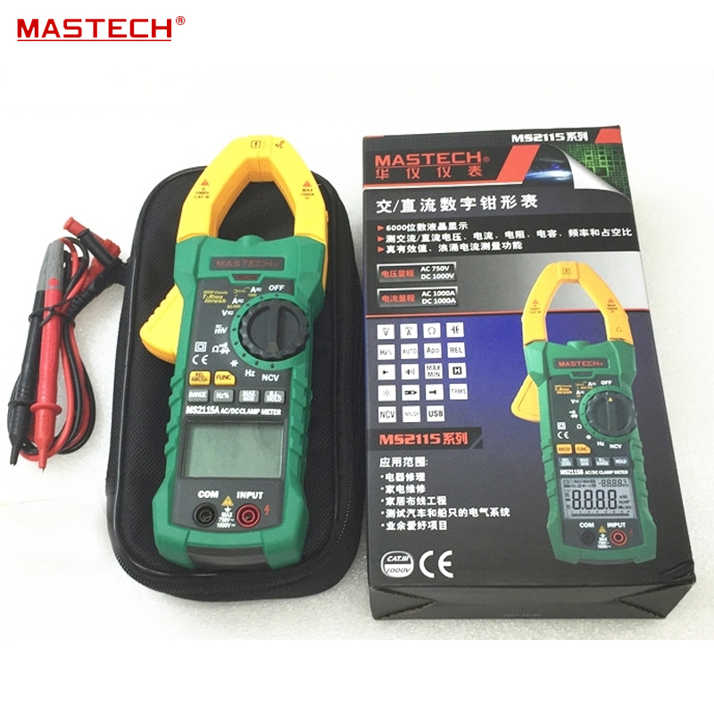 MASTECH MS2115A AUTO RANGE TRMS Digital Clamp Meter/100mF/HZ/NCV Voltage Detection eurogold 37542в mono