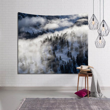 Hot 80*60inch Foggy Forest Hanging Tapestry For Living Room Bedroom Decoration Home Wall Art Tapestry Polyester Yoga Picnic Mat