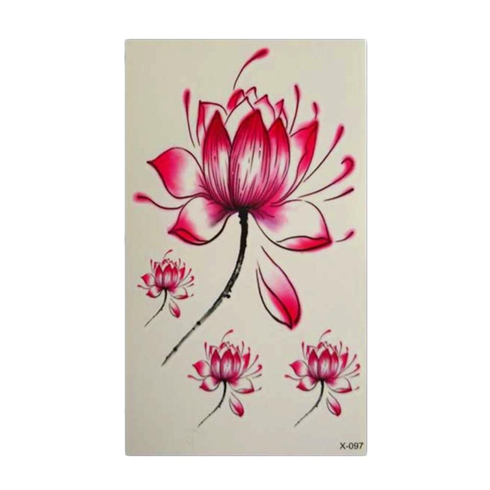 Body Art Women Waterproof Stickers Lotus Flower Tattoo Fashion