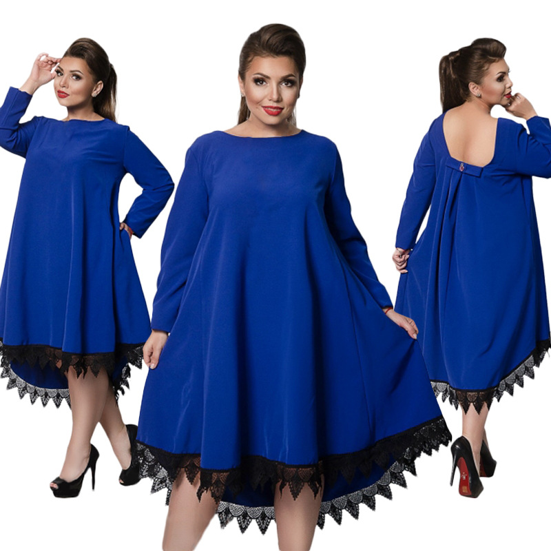 L 6XL Large Size 2018 Spring Dress Big Size Blue Red ...