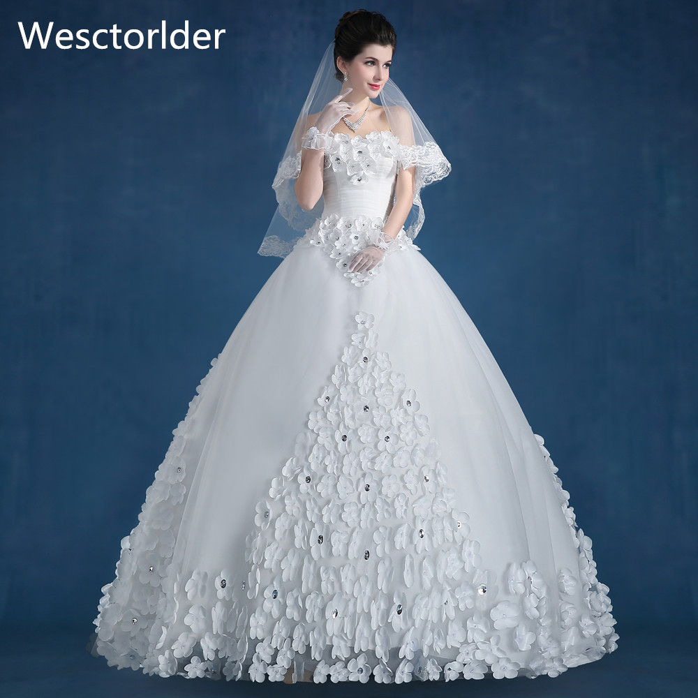 Wectorlder 2017 New Listing Wedding Dress Strapless Flower Crystal ...