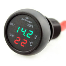 3in1 Auto USB Charger Digitale LED LCD Display Voltmeter Gauge Thermometer 5 V 2.1A(China)