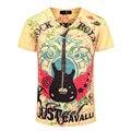 Moda Hip Hop Hombres de La Camiseta 2015 Nueva Llegada Guitarra de Rock N Roll 3D Camiseta impresa Verano de Los Hombres Marca Slim Fit Cuello En V T Shirt 3Xl