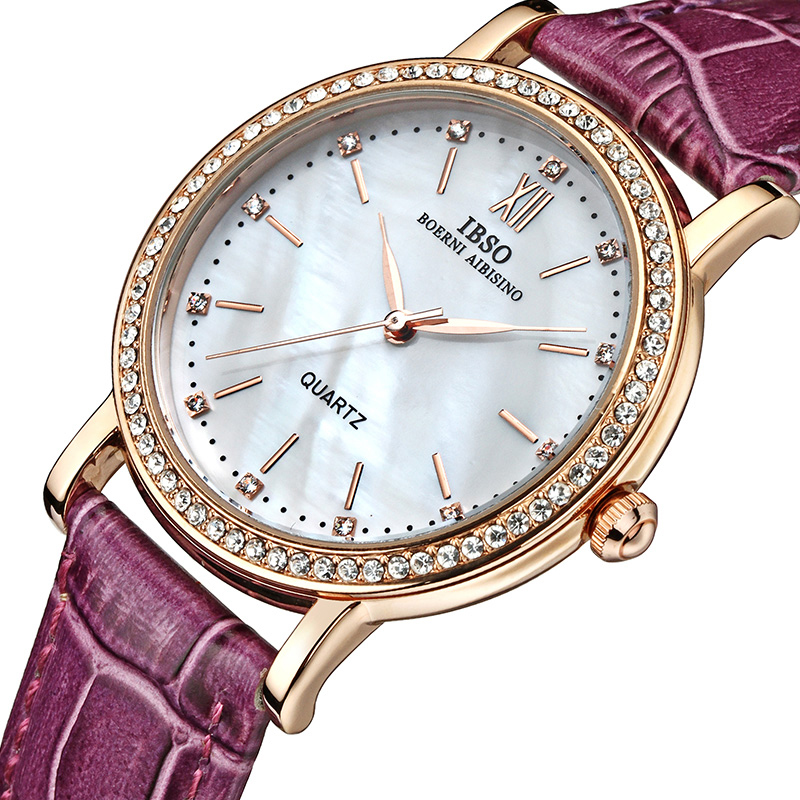 IBSO Merk Mode Dameshorloges Lederen band Horloge Dames Luxe Kristal - Dameshorloges - Foto 4