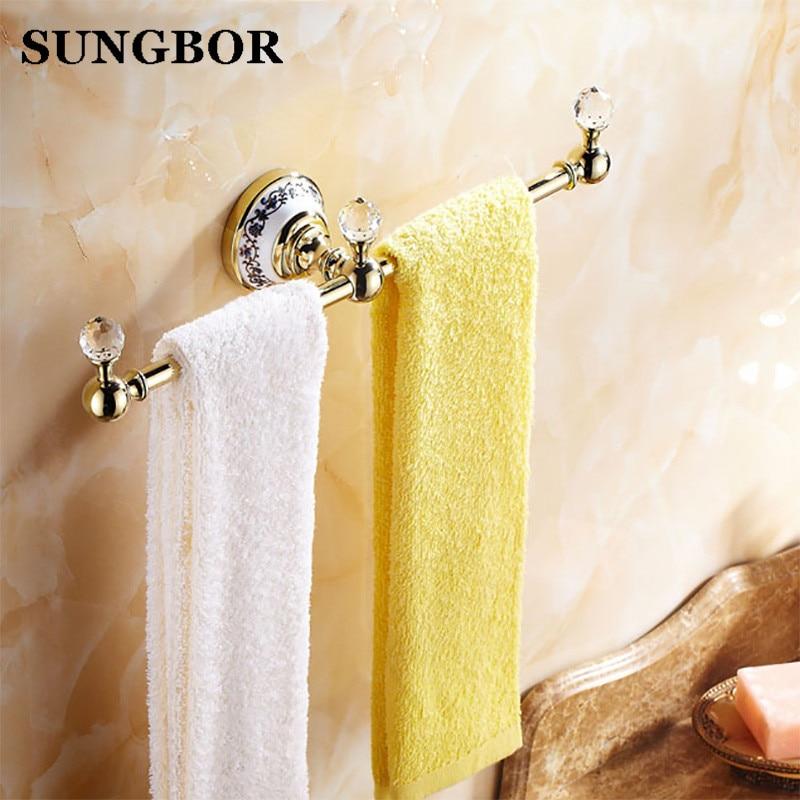 Vintage Ceramic Towel Bar: Antique Luxury Golden Crystal Towel Rack Towel Bar Wall