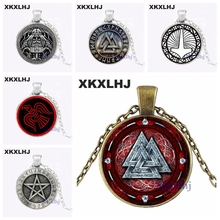 XKXLHJ Nordic Glass Jewels Bump Necklace Viking Cross Round Steampunk Pendant