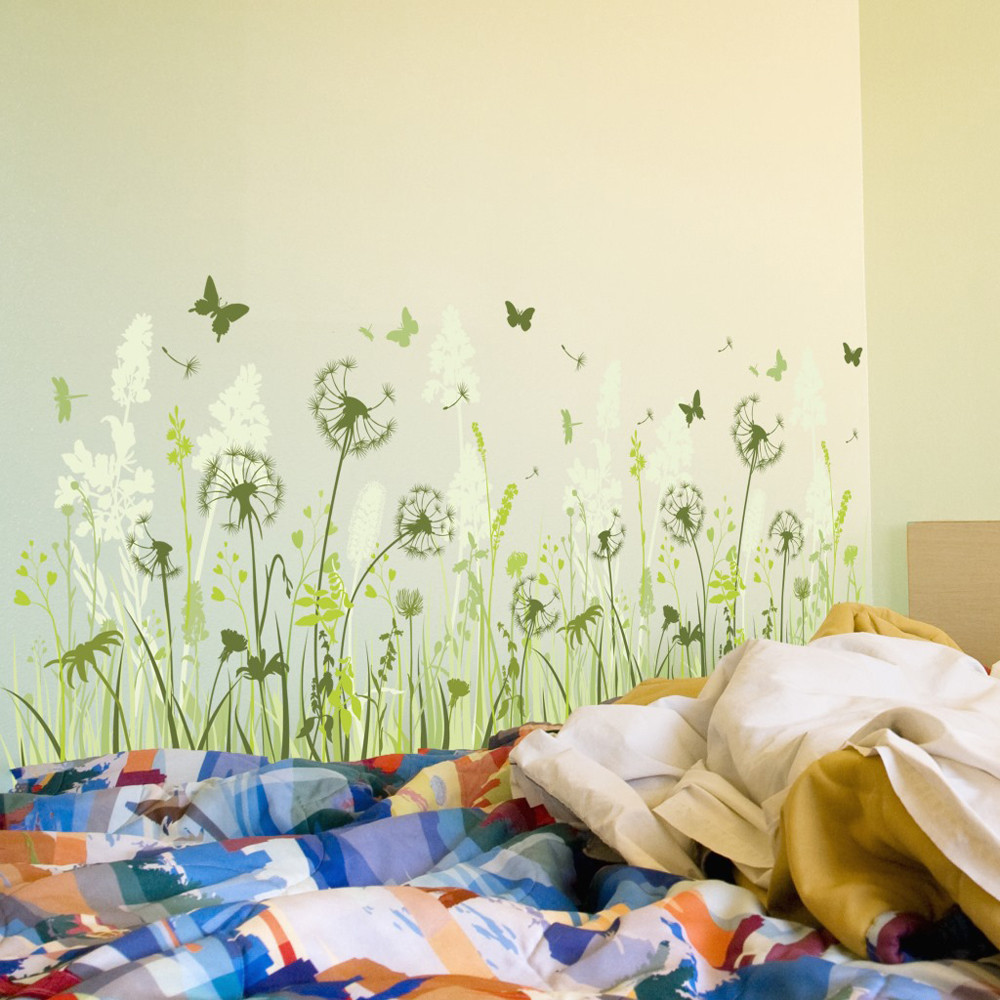Diy removable wall stickers dandelion butterfly decals for - Childrens bedroom wall stickers removable ...