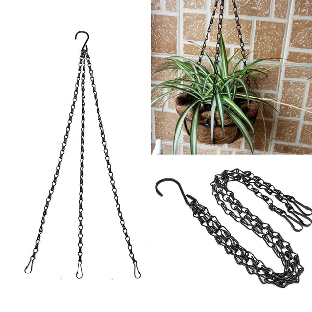 Black Flower Plant Pot Basket Holder Hanging Chain With S Shape Hooks For  Home Garden