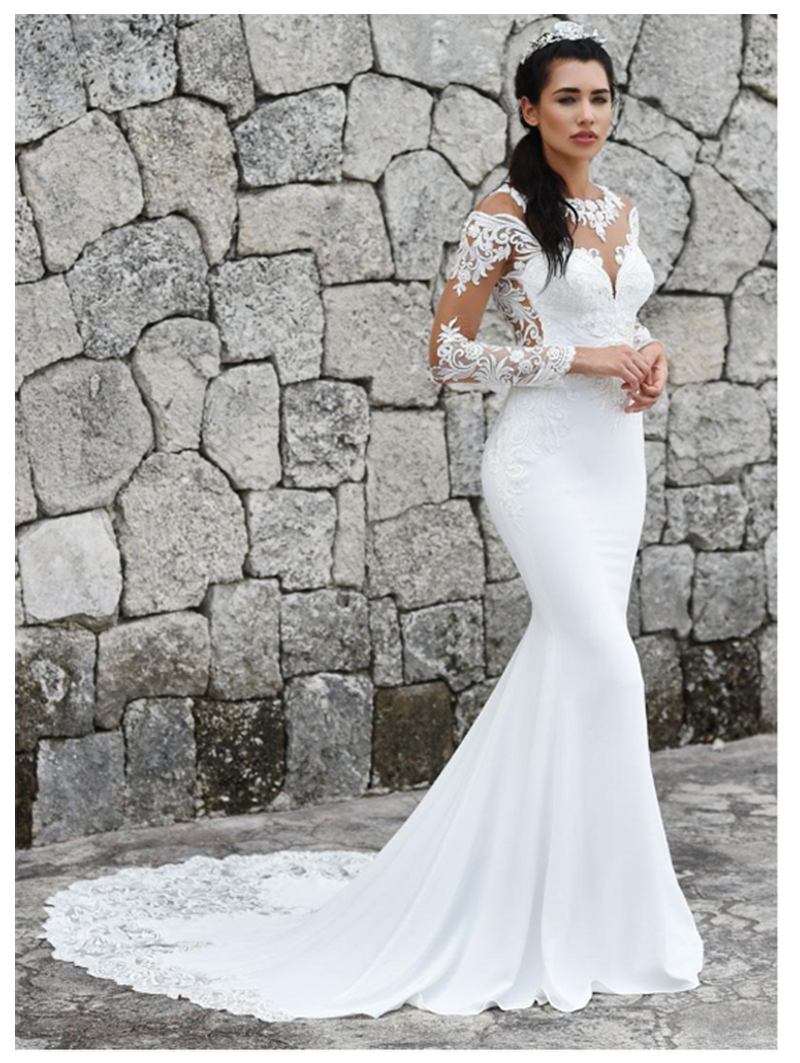 LORIE 2019 Mermaid Wedding Dresses Long Sleeves Appliques Lace Beach Bride Dress Sexy See Through Back Wedding Gown Hot Sale in Wedding Dresses from Weddings Events