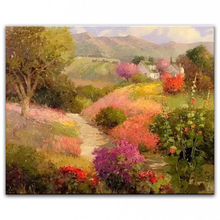 100% hand painted oil painting Home decoration high quality landscape knife painting pictures     DM16072104