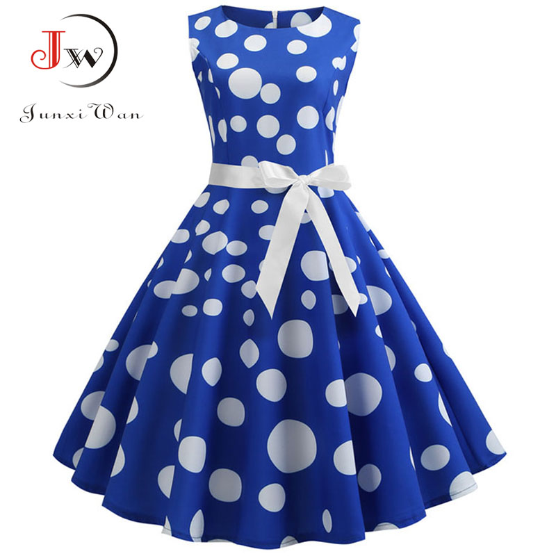 Polka Dot Print Women Summer Dress Sleeveless Vintage Swing Dress 2019 Casual Office Ladies A Line Elegant Work Dress Plus Size
