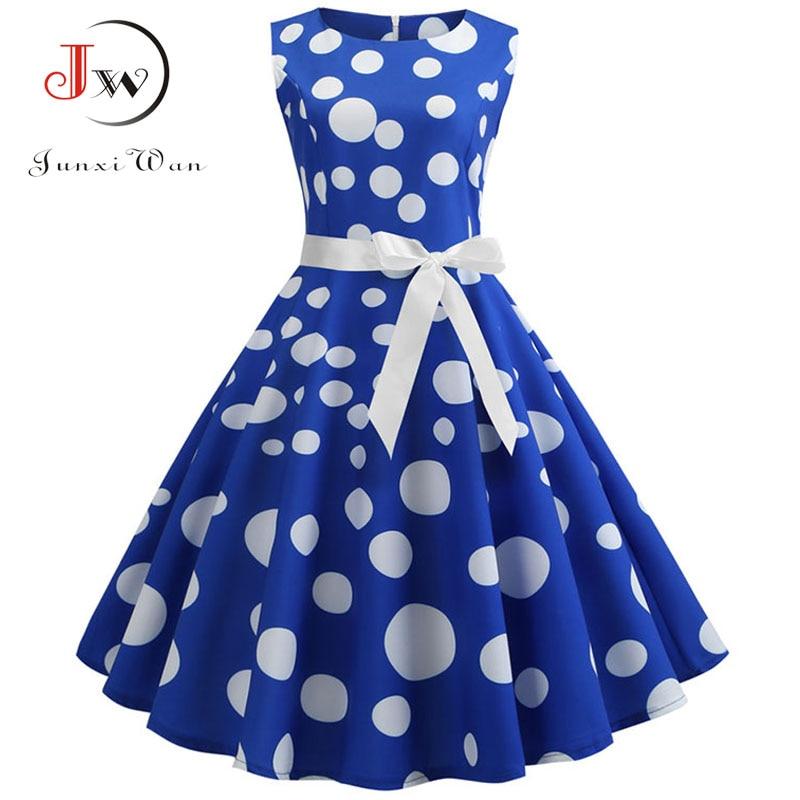 Polka Dot Print Women Summer Dress Sleeveless Vintage Swing Dress 2019 Casual Office Ladies A Line Elegant Work Dress Plus Size