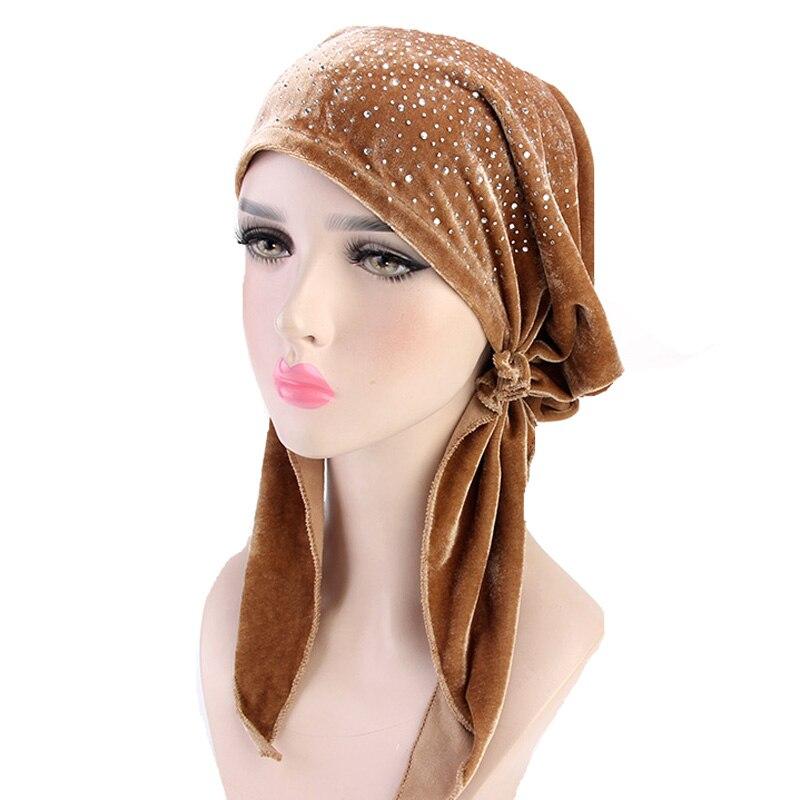 New women velvet rhinestone Pre Tied Fitted Turban Head Scarves Headwear Chemo Hat headband Wrap Hijib Cap hair accessories