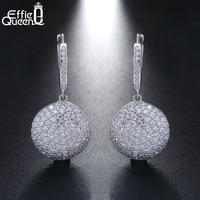 Effie Queen New Arrival Ball Earrings For Women 925 Sterling Silver Big Dangle Earring With Micro