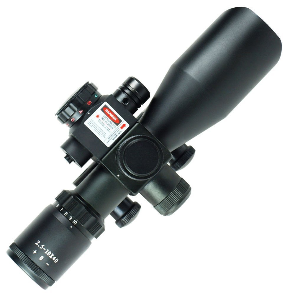 Spike Optics Hunting Scope 2.5-10X40 Mil Dot Riflescope With Green Red Laser Sight Fit AR15 11mm And 20mm Picatinny Weaver Rail wipson 11mm 20mm hunting optics scope 3 10x42 riflescope with green red illumination 24 mil dot reticle and red laser sight