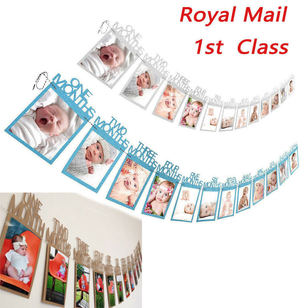 1st Birthday Party Recording Banner 12 Months Photo Garland Bunting Decorations