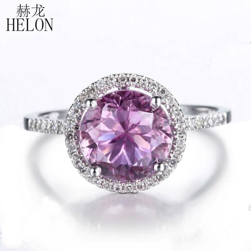 Helon 3 89ct Genuine Pink Topaz And 0 2ct Diamonds 14k