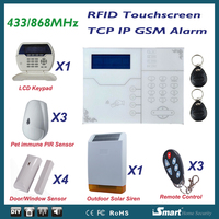 Most Advanced TCP/IP GPRS Wireless GSM Alarm System Home Intruder Burglar Security Alarm System w Outdoor Solar Flash Siren
