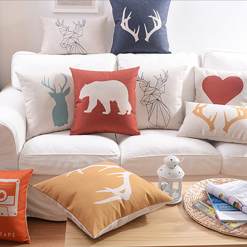 Astonishing Us 4 04 19 Off Scandinavian Cushion Decorative Throw Pillows Case Animal Deer Geometric Cushions Cover Home Decor Yellow Couch Pillowcase In Cushion Inzonedesignstudio Interior Chair Design Inzonedesignstudiocom