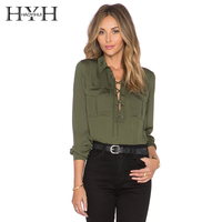Lace Up Front Ladies Shirts Long Sleeves Formal Office Tops Army Green Shirts 2016 Spring New