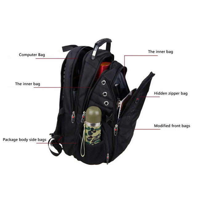MAGIC UNION Brand Men's Travel Bag Man Backpack Polyester Bags Waterproof Shoulder Bags Computer Packsack With Lock Raincover 4