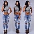 2017 Мода Дамы Хлопок Джинсовые Брюки Стрейч хлопок карандаш джинсы ноги Тощие Сломанный hole Boyfriend Джинсы женские