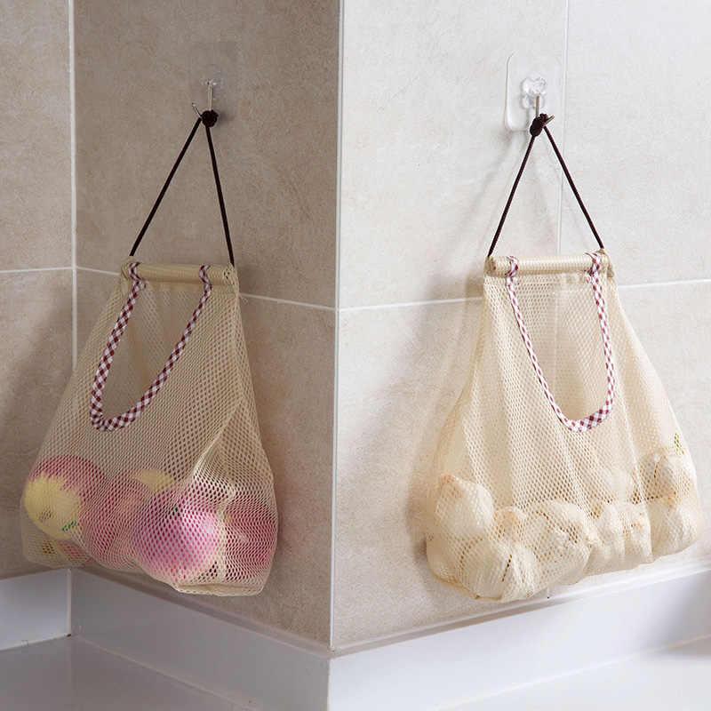 Кухонная сумка для хранения, органайзер для ванной комнаты, аксессуары, сетка для продуктов, сумка на шнурке, настенная подвесная сумка, многоразовые одноразовые