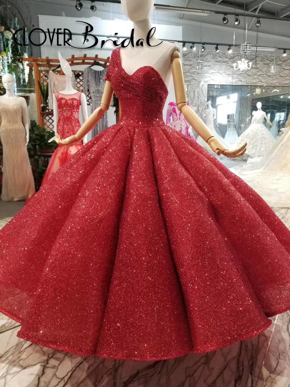 CloverBridal 2018 one shoulder ruches big skirt sequin bling bling red long ball dress for girls corset back sweet 16 gown