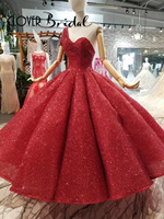 CloverBridal 2018 one shoulder ruches big skirt sequin bling bling red long ball dress for girls corset back sweet 16 gown