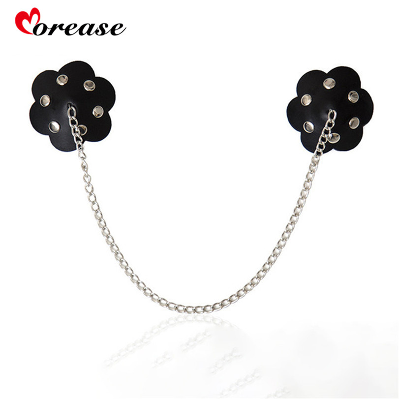 Morease Flower Shape Adhesive Nipple Stickers Cover Breasts Sexy Bdsm SM Sex Toy Pasties Leather Iron Chain For Women