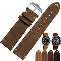 20 мм/22 мм Высокое качество ручной телячьей кожи ремешок старинные ремень из натуральной кожи часы ремешок бесплатная доставка