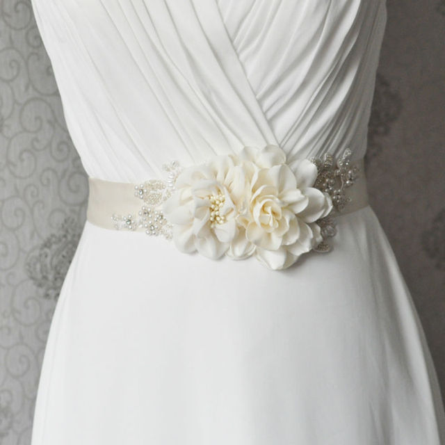 TOPQUEEN S172 ivory Flower Bride Evening Party Gown Dresses Accessories Wedding Belts Sashes/Waistband Bridal Sashes Belts