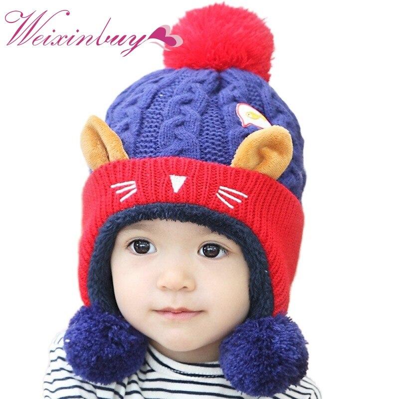 2017 Winter Hat Warm Infant Beanie Cap Cute Baby Children Boys Girls Animal Cat Ear Kids Crochet Knitted Hat