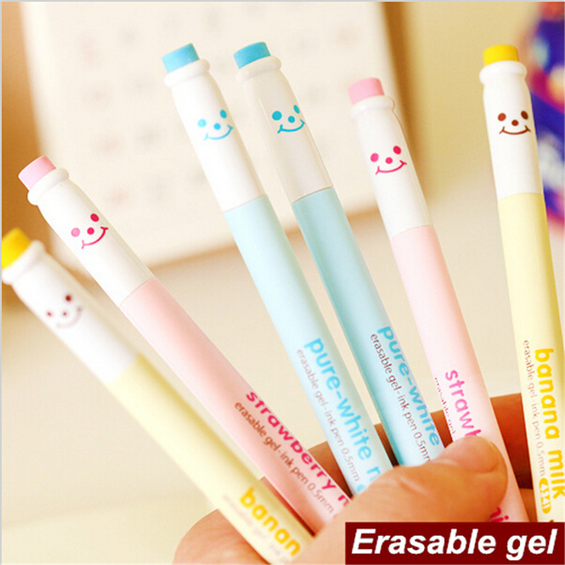 12 pcs/pack smile Erasable Gel Pens Writting Cute Chocolate Pen Canetas Escolar Korean school Stationary lapices erasable pen kawaii stationary material escolar boligrafo gel penne cute canetas floral caneta stylo borrable cancellabi