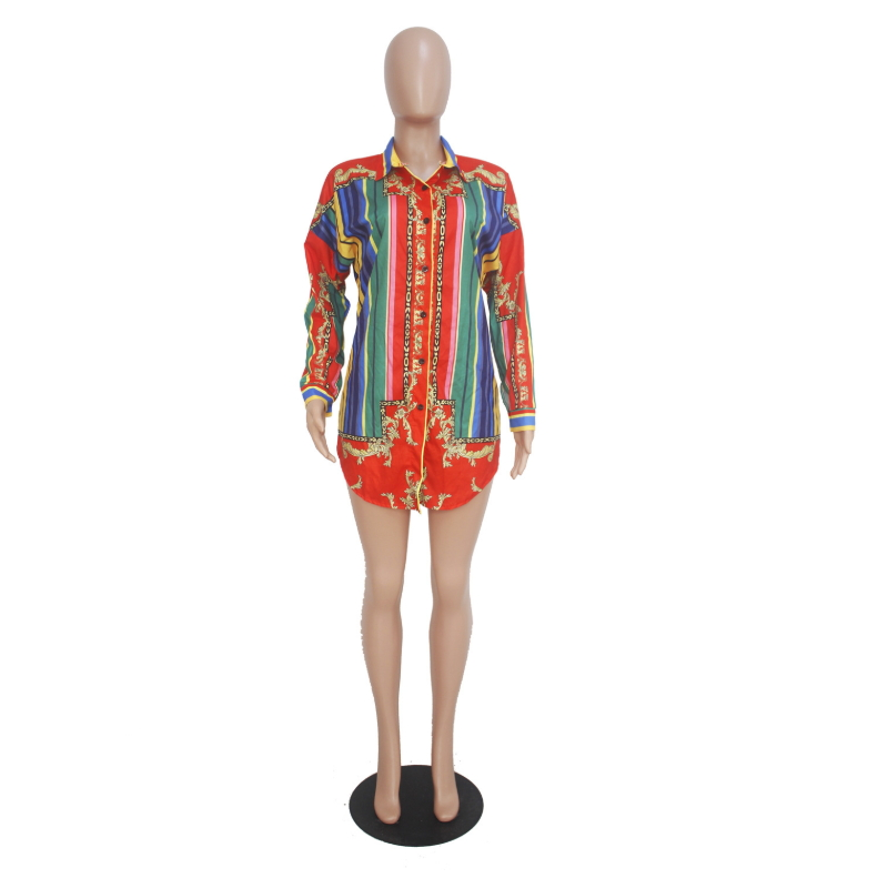 Colorful Striped Printed Shirt Dress Long Sleeve Ropa Mujer Mini Loose Cardigan 2019 Bohemian Vintage Retro Bestidos Sexy Casual in Dresses from Women 39 s Clothing