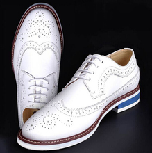 High Quality White Men's Wedding Groom Shoes Mens Shiny Leather Shoes Unique Men Casual Shoes Breathable
