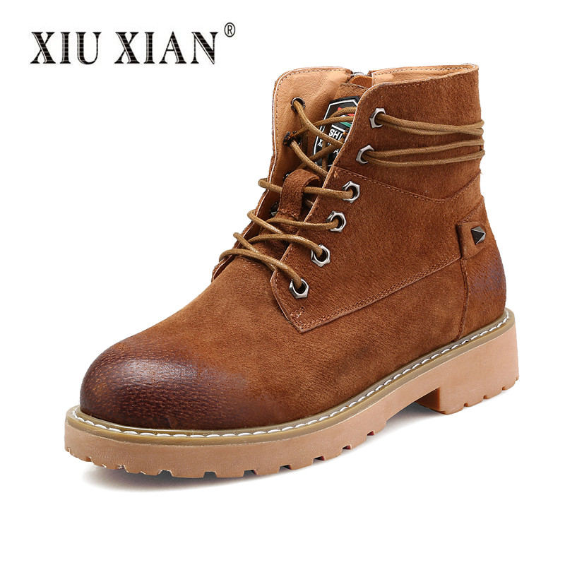 XIU XIAN 100% Genuine Leather Winter Ankle Boots High Quality Warm Plush Vintage Women Boots 2017 New Fashion Design Casual Shoe