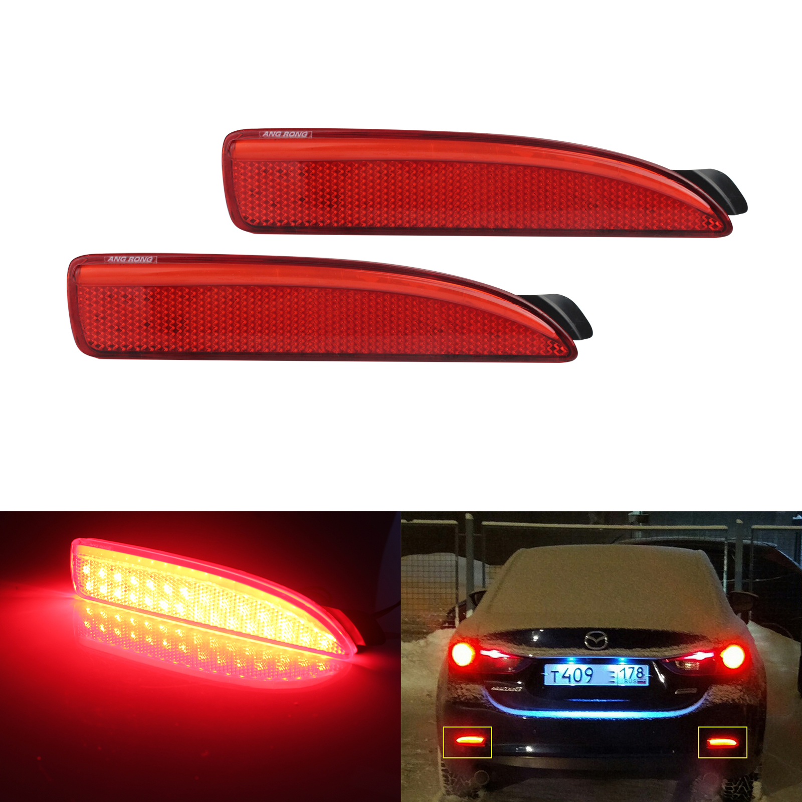 ANGRONG 2x Red Rear Bumper Reflector LED Tail Stop <font><b>Light</b></font> For <font><b>Mazda</b></font> <font><b>6</b></font> Atenza 2013+ For Mazda3 4D image