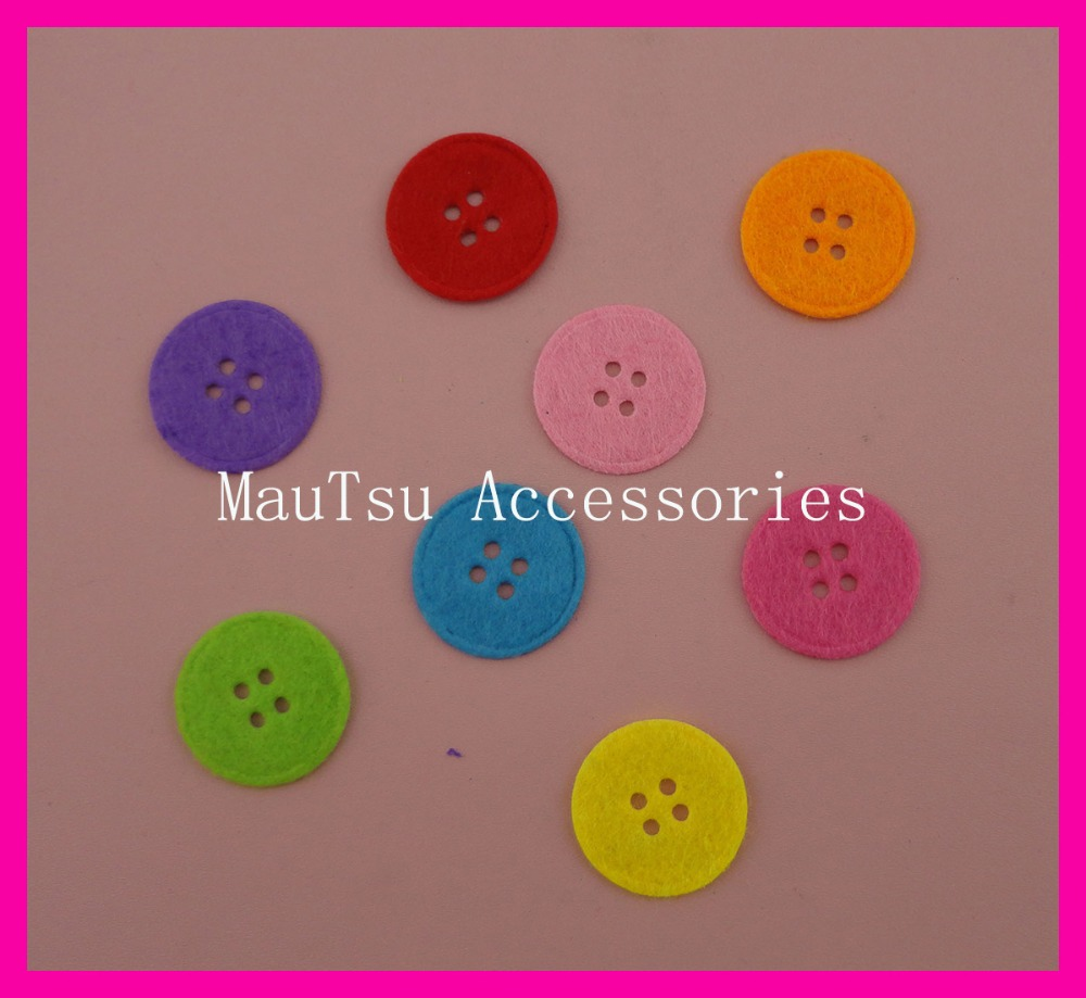 500PCS Assorted Colors 2.4cm 38L Round felt buttons pads with four holes, four holes button felt patches appliques,wholesales