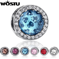 100 925 Sterling Silver Sky Blue Crystal Radiant Hearts Charm Fit Original Pandora Bracelet Pendant Authentic