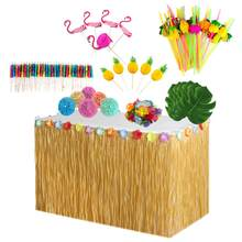 Hawaiian Tafel Rok Decoratie Set Honingraat Ananas Flamingo Paraplu Fruit Stro Hula Festival Party Decoratie Kit(China)